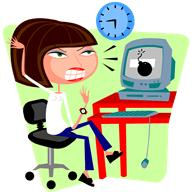 Frustrated woman sitting at a computer